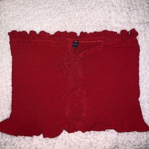 American Eagle Red Lace-Up Tube Top
